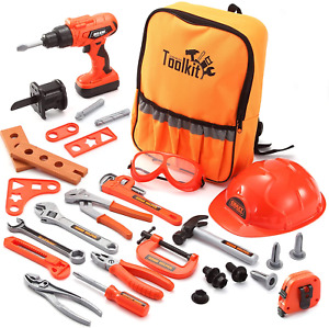 JOYIN 32 PCS Kids Construction Tool Toy Set Backpack of Tool Toys with Electric