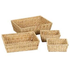 Water Hyacinth Large Bowls Natural (Set of 4 1/L-1/M & 2/S) basket set