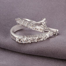 UK 925 Sterling Silver Earrings Hook Dangle Women Crystal Ear Stud Hoop Earrings