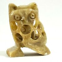 Vintage Chinese Hand Carved Owl with Baby Owl Inside Soapstone J13