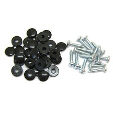 16 x Black Hinged Cap Number Plate Fitting Fixing Self Tapping Screws