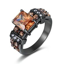 Nobby Jewelry Size 7 Halo Topaz Black 10K Gold Filled Engagement Ring For Women