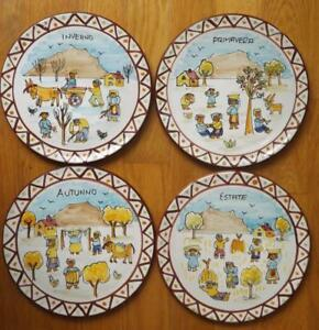 4 Ceramica Avallone Vietri Plates Four Seasons Italy Spring Summer Fall Winter