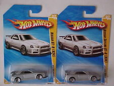 Hot Wheels 2010 Nissan Skyline GT-R Lot of 2 cars with different card variation