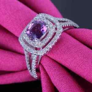 Solid 14k White Gold Cushion 6.5x6.5mm Amethyst Real Halo Diamonds Gemstone Ring