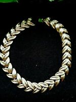 """Vintage Crown Trifari Gold Tone Heavy Chain Link Choker Necklace 15"""" ~ Signed"""