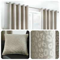 Curtina LEOPARD Stone Grey Animal Spotted Lined Eyelet Curtains & Cushions