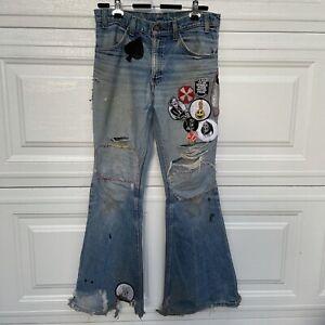 Vtg 70s Levi's Orange Tab 684 Bell Bottoms Hippie Patches Jeans 32x33