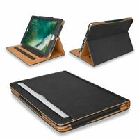 Genuine Leather Magnetic Black Tan Flip Stand Case Cover for Apple iPad 2 3 4
