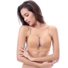 Women Deep U V Plunge Push up Bra Multiway Clear Back Straps Plus Size A B C D E