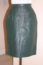 GREEN Womens REAL LEATHER PENCIL Cuir Fetish SKIRT Size XS Waist w24ins w61cms
