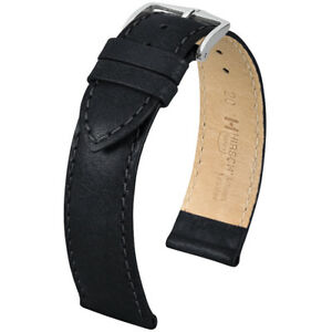 Hirsch Forest Natural Calf Stitched Leather Watch Strap Black or Brown