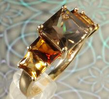 NWT 14K Yellow Gold Citrine, Madeira Citrine & Smoky Quartz 5-Stone Ring SZ 7