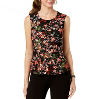 NINE WEST New L Women's Black Floral Sleeveless Stretch Blouse Tank Top $59 NWT