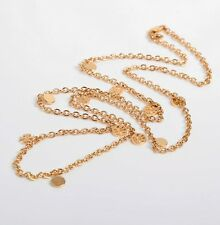 Tory Burch Gold Logo Charm Rosary Necklace Long New