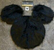 Disney Mickey Mouse Head Rug Throw Black Faux Fur New
