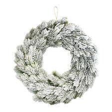 Winter Christmas Hanging Door Wreath Decoration - Festive Snow Effect (40cm)