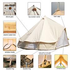 5 Meter Luxury Canvas Bell Tent Waterproof Glamping Safari Yurt Tent Stove Jack