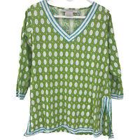 Gretchen Scott Women's S Small Green Blouse Ladies Long Sleeve V Neck Top