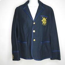Vintage 90s Ralph Lauren Sport Nautical Yacht Rock Blazer Jacket Sz 8 Navy Blue
