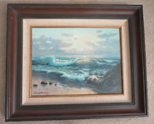 LISTED CALIFORNIA SEASCAPE PAINTING CANVAS ON WOOD  BY LAMAR ROWBURY