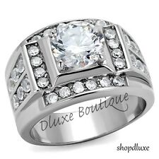 MEN'S 4.50 CT ROUND CUT SIMULATED DIAMOND SILVER STAINLESS STEEL RING SIZE 8-14