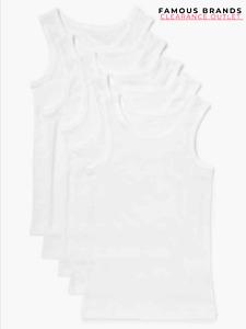 Ex Store Boys Kids 5 Pack White Plain Vest Tops Underwear Ribbed Edge