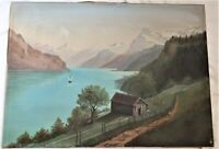 BIG ANTIQUE FOLK ART RIVER BOAT OIL PAINTING COUNTRY FARM PRIMITIVE VICTORIAN