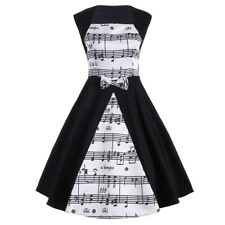 Womens 50s Vintage Music Note Retro Swing Rockabilly Dress Housewife Plus Size