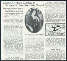 1914 Frieda Hempel photo interview vintage trade print article