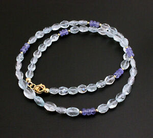 Classy Natural Aquamarine Chain With Tanzanite Facetted Oval Light Brazil 47 CM