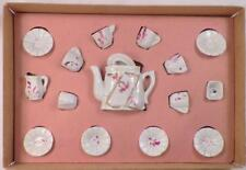 Childs Toy Tea Set Miniature Made Germany White Pink Flowers in Box As Is