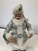 Holiday Time Santa Claus Silver Clothes Present Figurine Christmas  10""