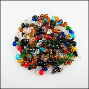 80 New Charms Faceted Teardrop Mixed Glass Crystal Rondelle Spacer Beads 4x6mm