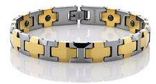 MEN'S NEW TWO TONE POLISHED TUNGSTEN BRACELET W/ SHINY GOLD  LINKS & MAGNETS