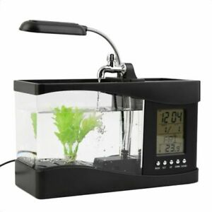 Usb Desktop Fish Tank 1.5L Aquarium Lcd Timer Led Lamp Alarm Clock Calendar