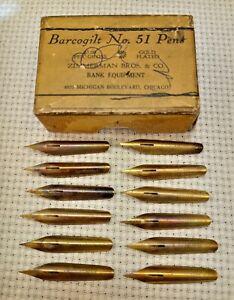 Antique Barcogilt No. 51 Pen Nibs, Gold Plated Nibs, 12 Nibs, Zimmerman Bros