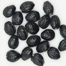 Glass Beads Black Opaque Acorn 12mm. Pack of 20. Made in India.