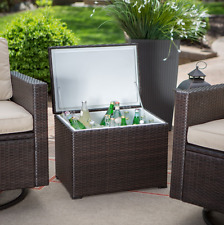 Patio Cooler Pool Side Deck Ice Chest Backyard Party Wicker Furniture Outdoor
