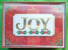 "PUNCH STUDIO ""JOY"" Gold Foil & Jewel Embellished Christmas Cards Boxed Set 12"