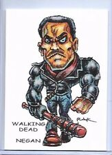 THE WALKING DEAD ** TRADING CARD ART SIGNED by RAK ** NEGAN & LUCILLE NEAR MINT