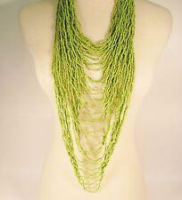 "45"" VERY LONG Multi Strand Handmade Green Bohemian Style Seed Bead Necklace"