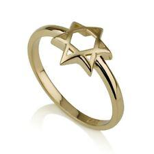14k Yellow Gold Star of David Ring, Trendy Jewish Ring, Hebrew Jewelry