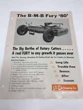 Vintage B-M-B Fury 80 Rotary Cutter Farm Implement Brochure Mower Hay Holton KS