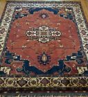 GORGEOUS HERIZZ SERAPII AFGHAN HAND KNOTTED 100%WOOL ORIENTAL RUG CLEANED 9x12.8