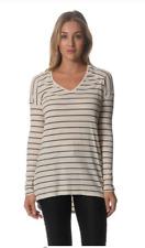 Sportsgirl Ladies Hi Lo Striped Long Sleeve Top sizes Small Large 10 14 Khaki
