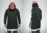 Phoenix Basic Oversize Side Zip Crewneck Sweater Fashion Black Pullover New
