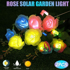 2PCS Romantic Solar Power LED Multicolor Rose  Outdoor Pathway Yard  i