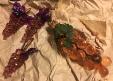 Vintage Lot 4 Acrylic Grape Clusters 1 Large Amber & 3 Small Amber Purple Leaf