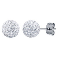 GENUINE TRESOR PARIS BONBON TITANIUM SPARKLING BALL CRYSTAL EARRINGS